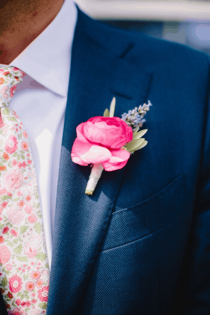 Molly and Zack Rose Boutonniere