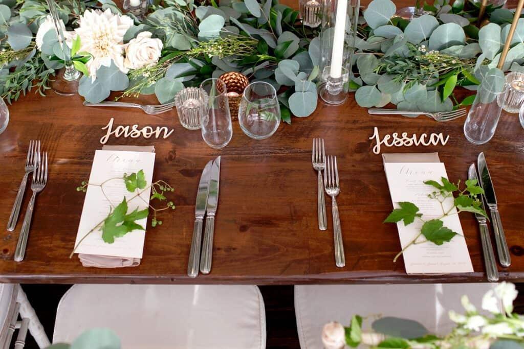 Jason and Jessica Wedding Table Setting
